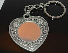 Pewter Ornate Designed Heart Purse Charm Key Ring Key Chain Mirror Metal Glass