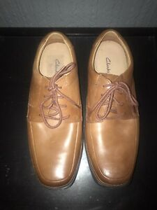 Clarks ACTIVE-AIR Formal/Casual SOFT TAN LEATHER Shoe Men WIDE-FIT UK-9 EU 43 BN