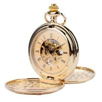 Luxury Gold Mechanical Pocket Watch Skeleton Double Open Roman Numbers Fob Chain