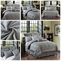 10 Piece Bed In A Bag Plaid Embossed Comforter Sheet Bed Skirt Sham Set Grey