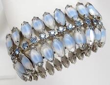 Vintage Kramer Blue Marquise Givre Glass & Rhinestone Bracelet