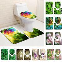 3pcs Toilet Mat Bathroom Door Non-slip Bath Mats Rug 3D Plants Pedestal Carpet