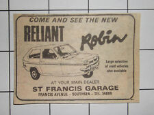 RELIANT ROBIN From St Francis Garage Francis Ave Southsea 1976 Advert Clipping