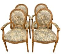 Set of Four French Louis XVI carved oval back fruitwood arm chairs Kravet Fabric