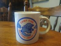 "Vintage BSA Boy Scouts of America Coffee Cup Mug ""CAMP FIRE WE CARE ABOUT YOU"""