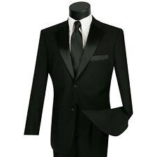 LUCCI Men's Black Classic Fit Formal Tuxedo Suit w/ Sateen Lapel & Trim NEW