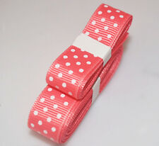"Rose 3yds 5/8"" (15 mm)Printed Party Polka Dot Grosgrain Ribbon*"