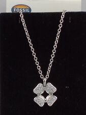 Fossil Brand Glitz Stainless Steel Signature Pave' Flower Charm Necklace JF00861