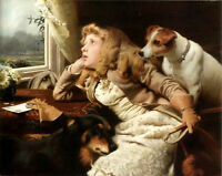 Oil painting Charles Burton Barber - No Ride Today young girl with her pets dogs