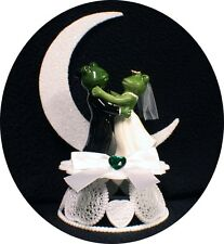 """Frogs """"OUR PAD"""" Animal Wedding cake topper Top Moonlight funny  Nature Outdoor"""