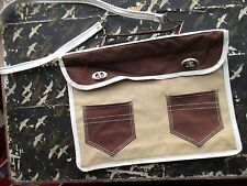 "True Vtg 1960s Small 12x9"" Laptop Vegan Carry On Bag Brief Strappy Hippie Case"