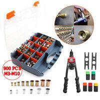 900pcs M3-M10 Stainless Steel Hand Riveter Rivnut Nut Insert Nutsert Tool Kit BE