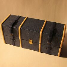 Luggage Shipping Trunk/Suitcase ~ BLUE ~ 4 drawers ~ Doll House Miniature ~ 1/12