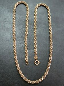 VINTAGE 9ct WHITE GOLD BOX & YELLOW GOLD ROPE LINK NECKLACE CHAIN 18 inch 1980