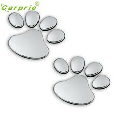 SILVER zampe Animale Amante Paw Print Pet Auto Furgone 3D Sticker Badge decalcomanie gatto cane