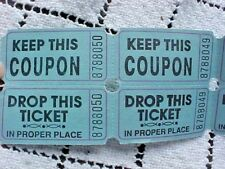 Double Raffle Tickets Blue Lot of 100 Keep This Coupon Drop This Ticket Numbered