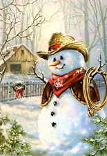 COWBOY SNOWMAN Glitter Christmas Cards - Leanin' Tree - Box of 10 USA NIB