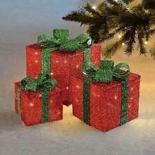 3 BOX LED LIGHT UP CHRISTMAS PARCELS GIFT BOXES FESTIVE XMAS DECORATION SET NEW