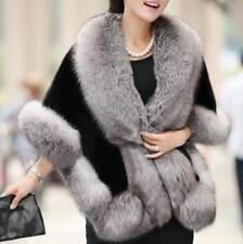 Womens Luxury Winter Faux Fur Furry cape Poncho Coat Warm Jacket Parka Fashion Q