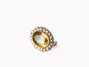 Antique Tiny 18ct Gold Half Seed Pearl Faceted Citrine Small Lace Pin Brooch