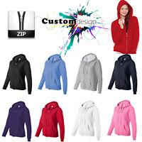 Zip Up Hoodie Blank Plain Basic Hooded Sweat Sweatshirt Sweater Female Ladies