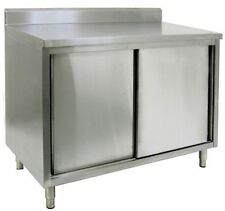 "24"" X 84"" Stainless Steel Cabinet - Sliding Doors w/ Backsplash"