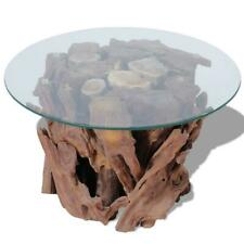 Retro Style Lounge Furniture Wooden Base Round Glass Top Handmade Coffee Table