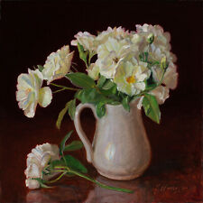 Original oil painting realism still life rose flower bouquet  flora 10x10 Y Wang