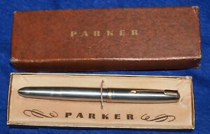 """Vintage PARKER """"51"""" Brushed Stainless Steel Fountain Pen Gold Trim Orig. Box"""
