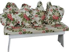 Vintage Shabby Farmhouse Bench w/ Waverly Cushions