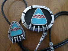 BEAR CLAW  BELT BUCKLE & BOLO TIE SET.  INLAY TURQUOISE & CORAL PEWTER  NEW USA