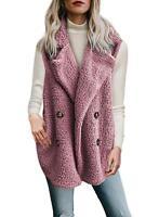 Women Ladies Fleece Fur Waistcoat Gilet Sleeveless Jacket Winter Warm Vest Coat