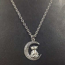 Cats on the moon Necklace,Silver handmade necklace,Fashion charm jewelry pendant