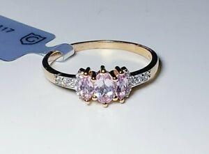 Fancy 10k Rose Gold Imperial Pink Topaz & White Zircon Ring Size 8/Anillo de Oro