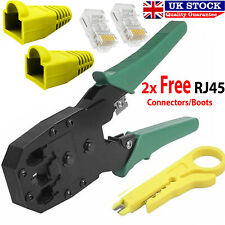 RJ45 Cat5e Cat6 Network Ethernet Cable Crimping Tool End Plug Connectors & Boots