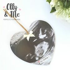 Personalised Wooden Photo Plaque/Sign Gift Keepsake Pregnancy Scan Baby Shower