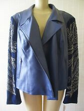 $149 KYLE BY KYLE RICHARDS BLUE & SILVER BEADED BOMBER JACKET SIZE 1 X - NWT