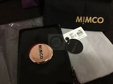 Authentic Mimco Black Leather Rose Gold Small Pouch Wallet Purse button RRP69.95