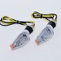 2x 14 LED Amber Motorcycle Turn Signal Indicator Light Lamp Short Stalk chrome