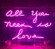 """New All You Need Is Love Pink Neon Light Sign Lamp Beer Pub Decor Acrylic 14"""""""