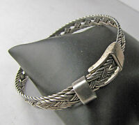 Vintage Sterling Silver Weaved Braided Style Working Buckle Bangle Bracelet