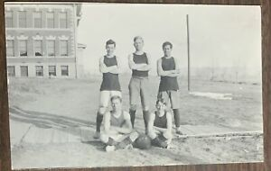 EARLY 1900'S RPPC 5 MAN MENS BASKETBALL TEAM COLLEGE HIGH SCHOOL? POSTCARD