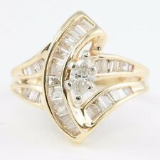 ESTATE 14k Yellow Gold Marquise Baguette Diamond Engagement Fashion Ring 1.18tcw