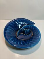 VIntage Mid-20th Century U.S.A. Pottery Blue Glaze Ashtray