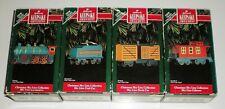 1992 Hallmark Skyline Train -Collection Set 4 Diecast Metal Ornaments -Boxes Ec