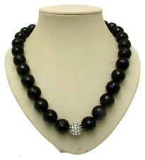 Black Beaded Necklaces Statement Necklaces Silver Shamballa Style Beads