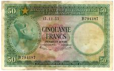 Belgian Congo 50 Francs P-27b 1953 Riamda-Urundi   - US-Seller