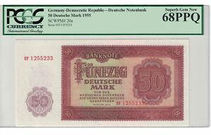 GERMANY - DEMOCRATIC REP. 50 DEUTSCHE MARK 1955 PICK# 20a PCGS: 68 PPQ (#1060)