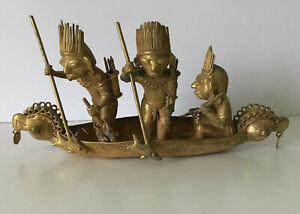 Kogi Tairona Tumbaga gold Very Large Fishing Boat 502g 27cm Statue