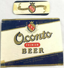 Vintage Oconto Brewing Premium Beer Bottle Can Label Wisconsin Neckband 12oz